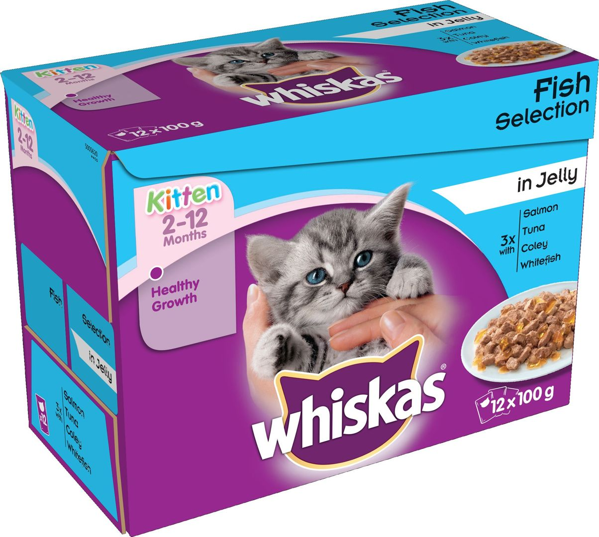 Whiskas Pouch in Jelly Kitten Fish Selection 12x100g